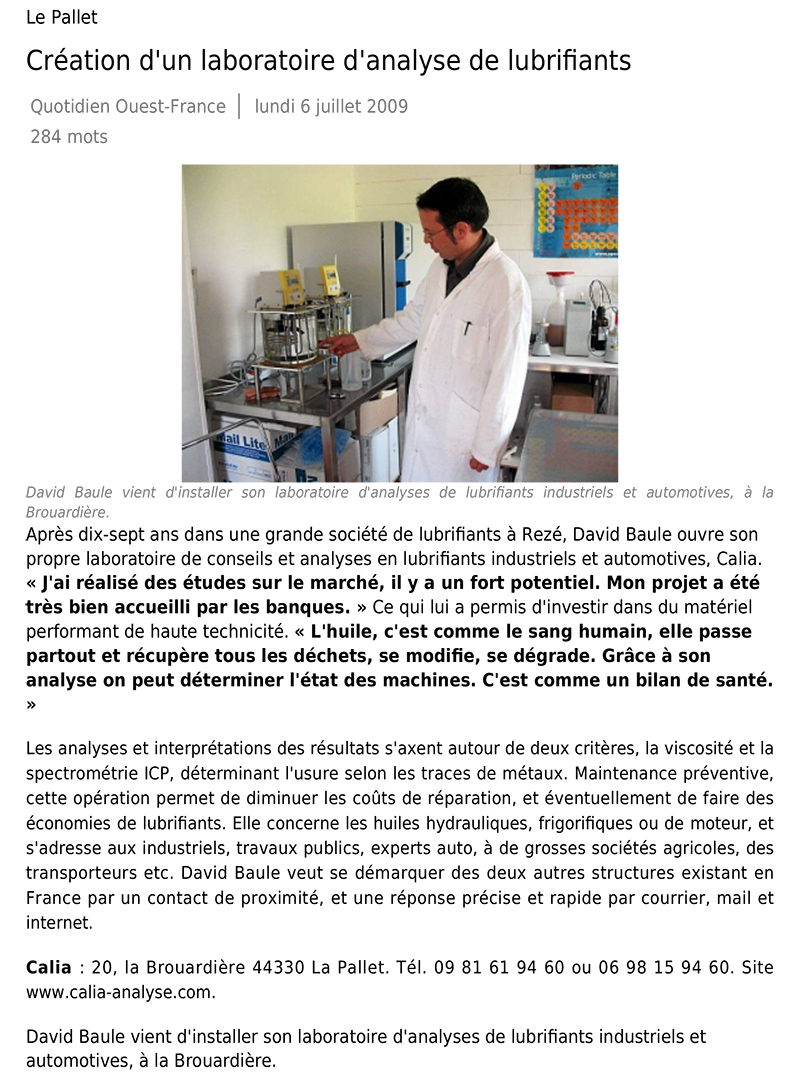 article ouest-france juillet 2009 calia